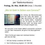 Bibelkreis am 26.05.2020 – 18.00 Uhr