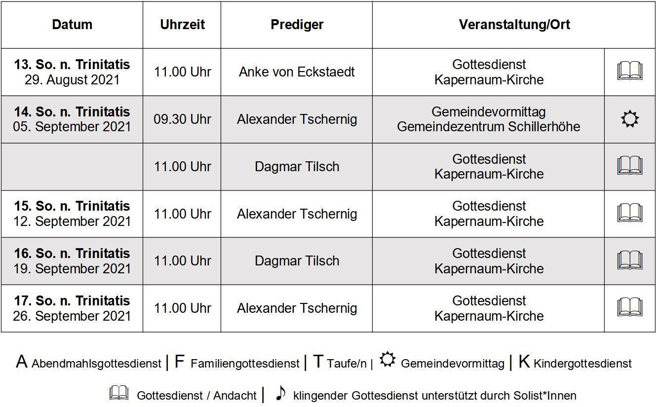 Gottesdienste im September 2021 (max. 30 Minuten)
